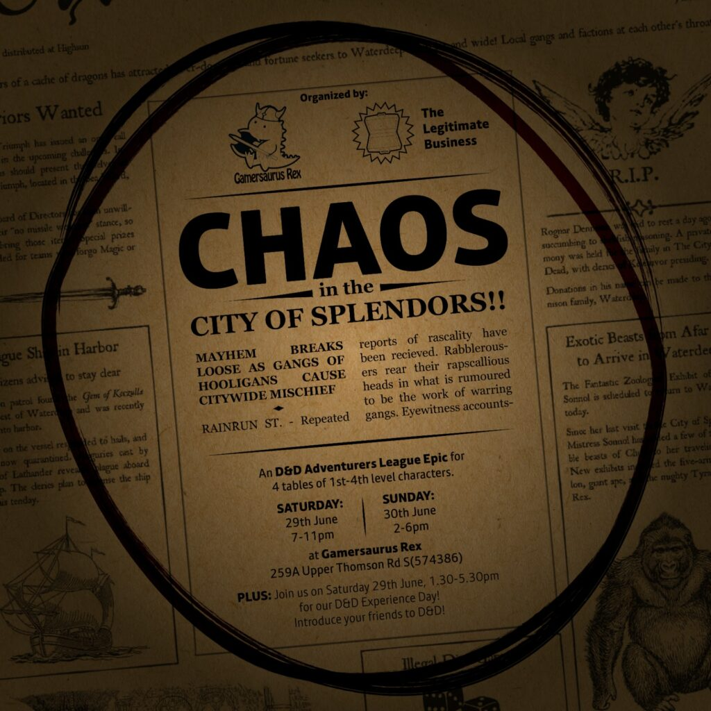 Promo image for Chaos in the City of Splendors epic on 29 June 2019