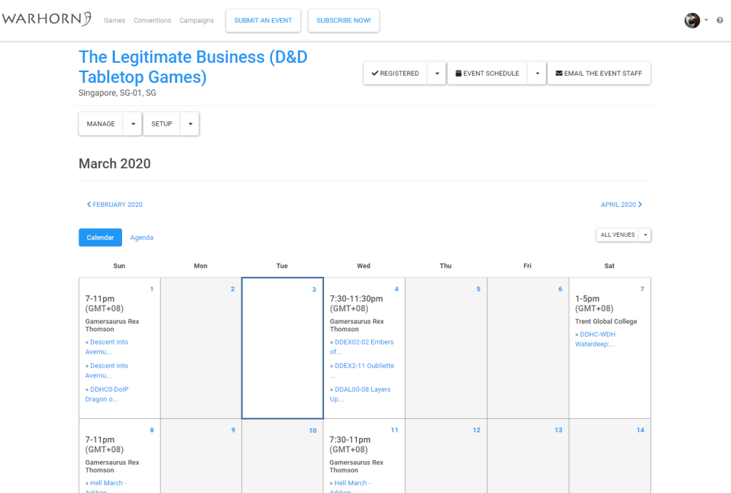 The Legitimate Business' Calendar of Games