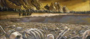 Valenar Elves survey the dead left in the Mournland.
