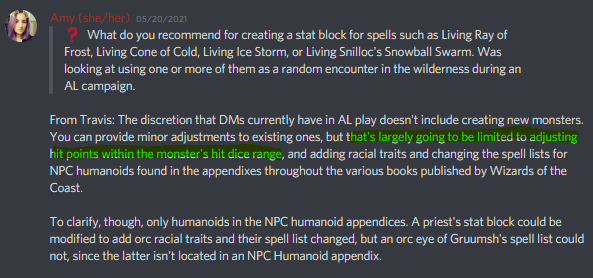 """""""...You can provide minor adjustments to existing ones, but that's largely going to be limited to adjusting hit points within the monster's hit dice range..."""" - Discord Announcement"""