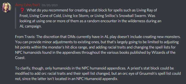 """""""You can provide minor adjustments to existing ones, but that's largely going to be limited to adjusting hit points within the monster's hit dice range, and adding racial traits and changing the spell lists for NPC humanoids found in the appendixes throughout the various books published by Wizards of the Coast. """" - Discord Announcement"""