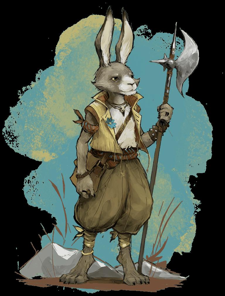 A harengon, a race of humanoid rabbits